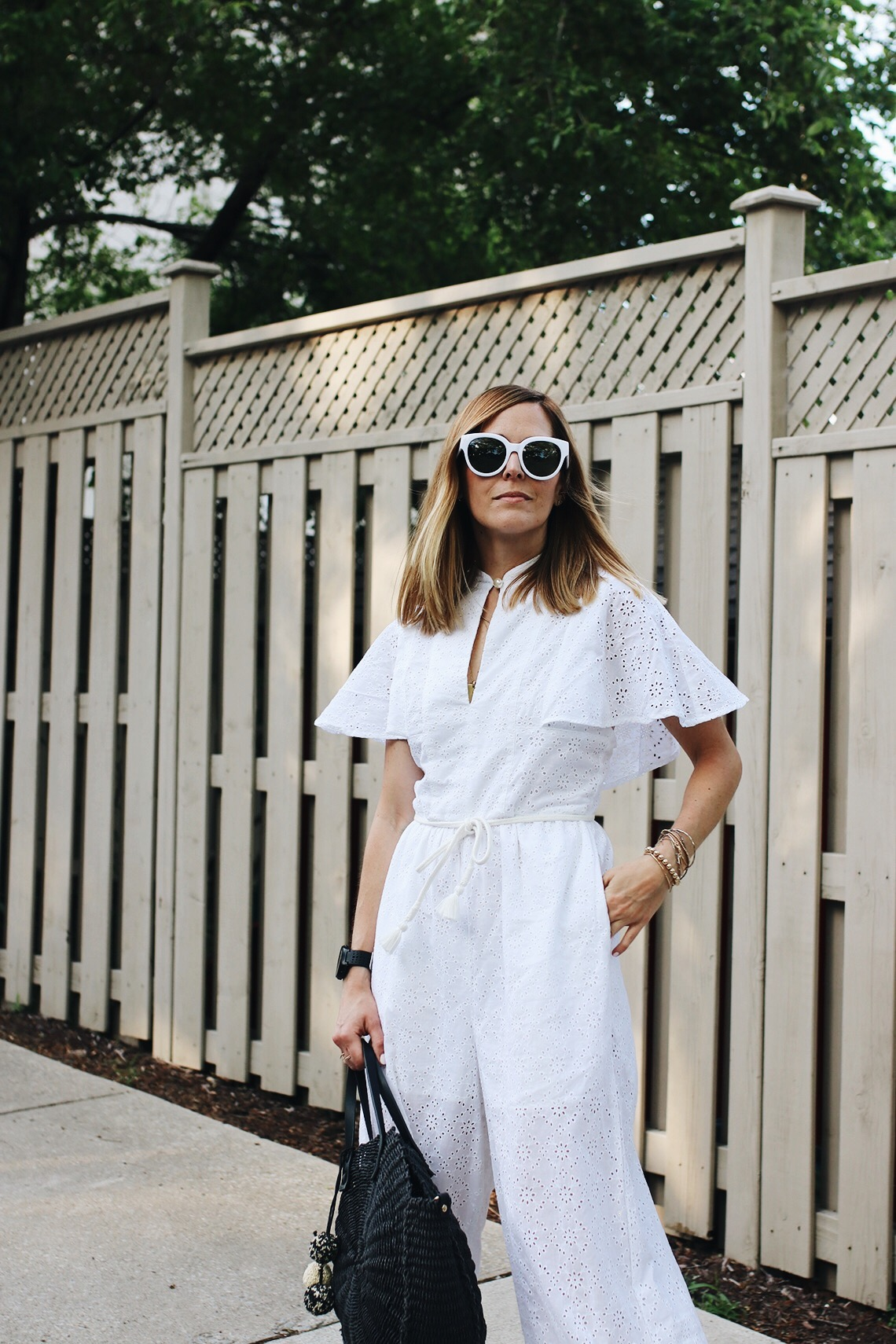White eyelet jumpsuit
